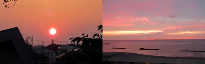 (左)西の窓に夕日が。あらきれい!(右)海の向こうに日が沈む